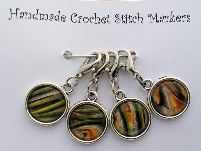 Crochet Stitch Markers - Multi Coloured Abstract Art - Set of 4