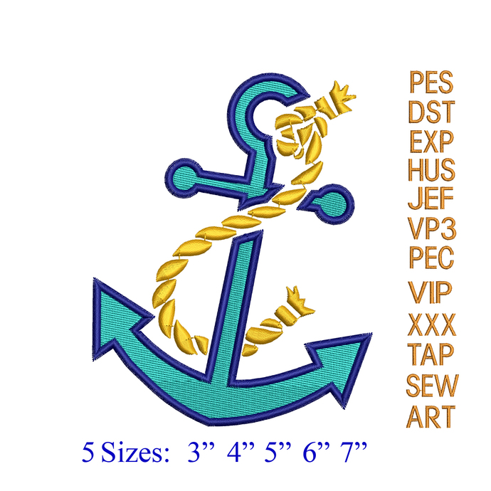 Anchor with Rope embroidery design,Anchor embroidery pattern,Anchor with Rope