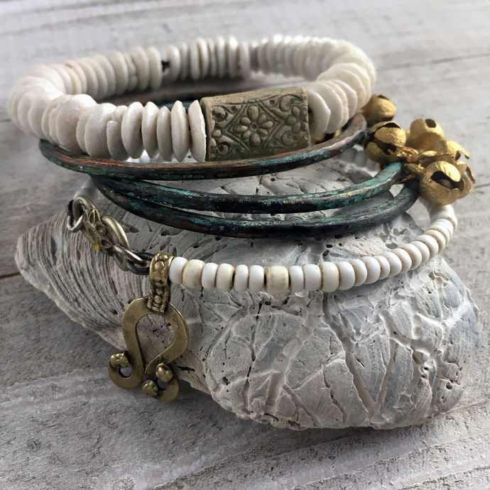 Bohemian Bangle Stack - Dancing by the Water - Gypsy inspired Bracelets Copper