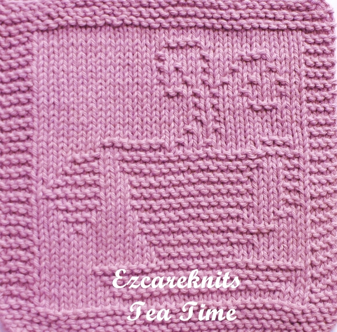 TEA TIME - Face Cloth, Spa Cloth, Blanket Square, handicraft, Knit, Quick Knit,