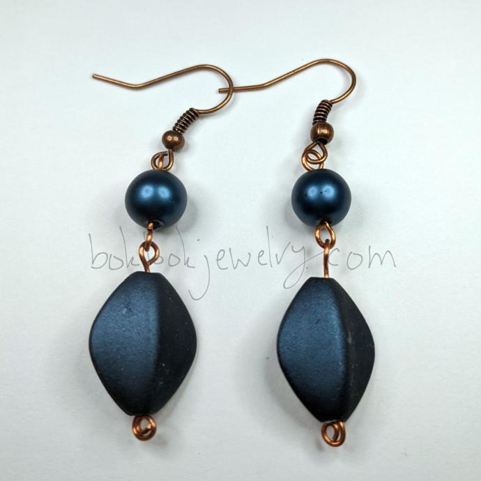 Handmade Denim Blue and Copper Earrings