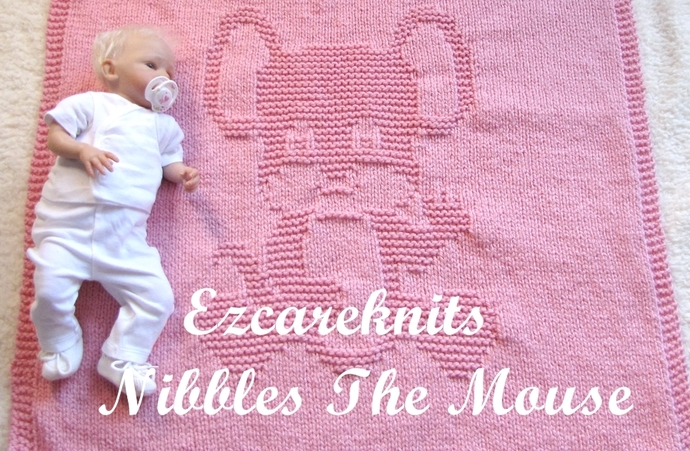 NIBBLES THE MOUSE Baby Blanket-Baby blanket knitting pattern/ easy baby blanket