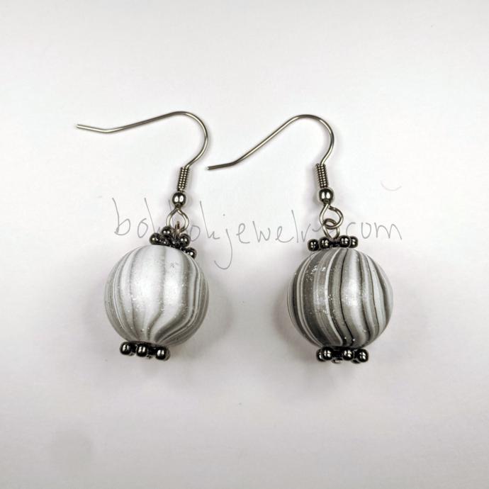 Handmade Gray Wooden Earrings