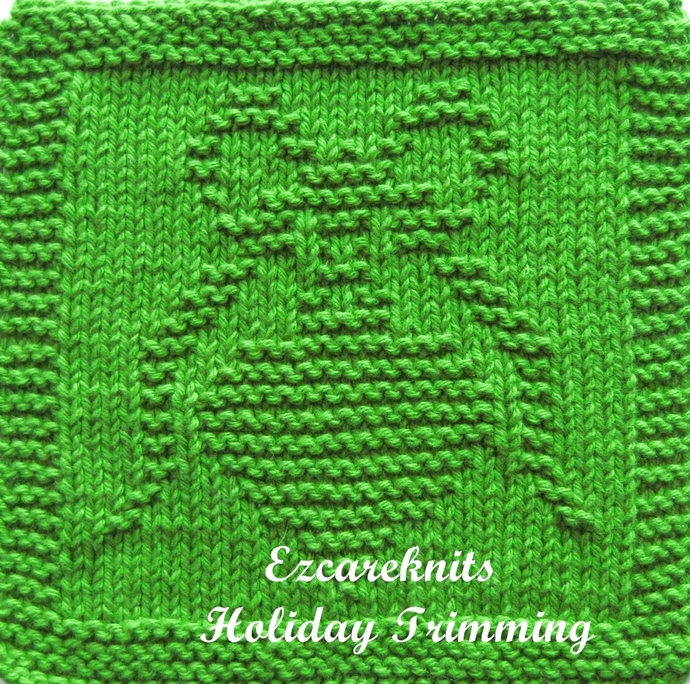 HOLIDAY TRIMMING - Knitting Pattern, Face Cloth, Spa Cloth, Blanket Square,