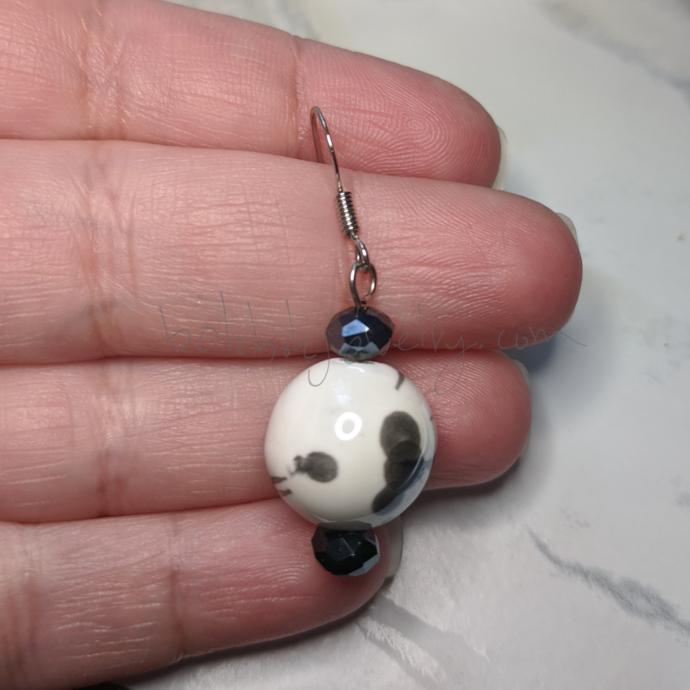 """Cow Print"" Ceramic Earrings"
