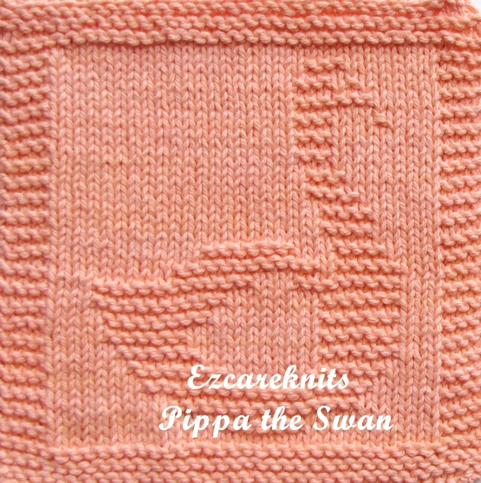 PIPPA THE SWAN - Face Cloth, Spa Cloth, Blanket Square, handicraft, Knit, Quick