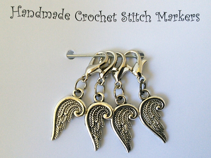 Crochet Stitch Markers - Angel Wings - Set of 4