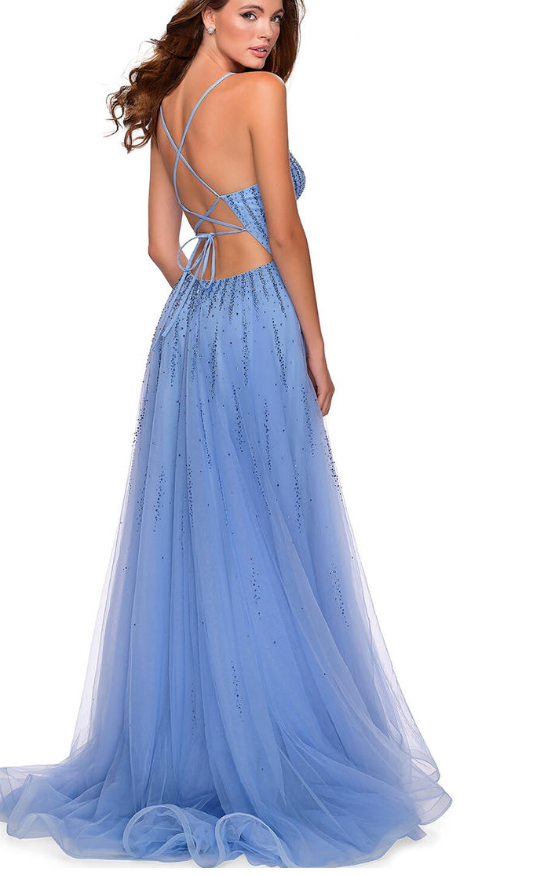 Blue Prom Dress,Tulle Prom Gown,Spaghetti Straps Evening Dress,Backless Prom