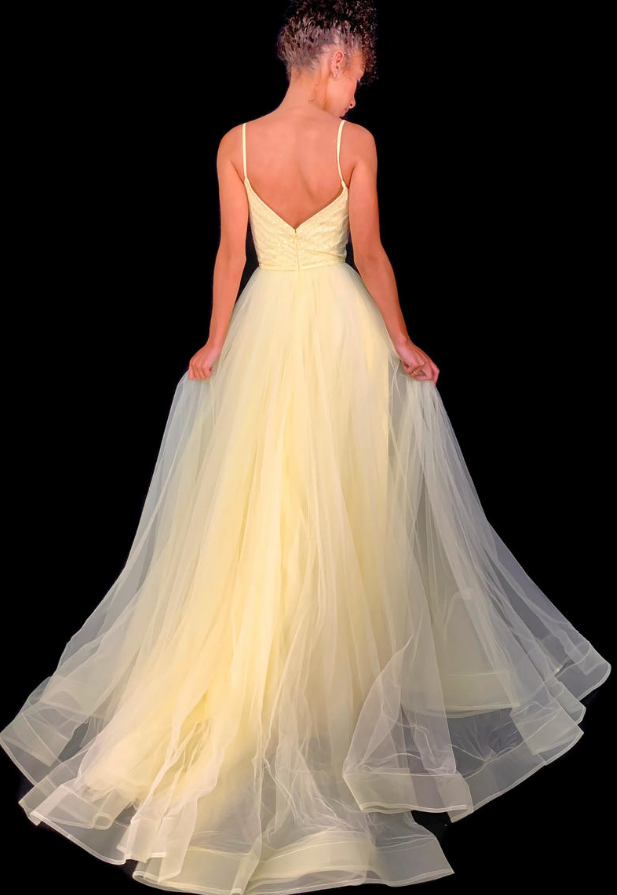 Yellow Prom Dress,Tulle Prom Gown,Spaghetti Straps Evening Dress,Backless Prom