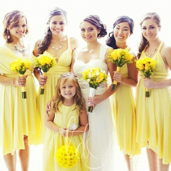 short bridesmaid dresses 2020 yellow chiffon convertible cheap custom infinite