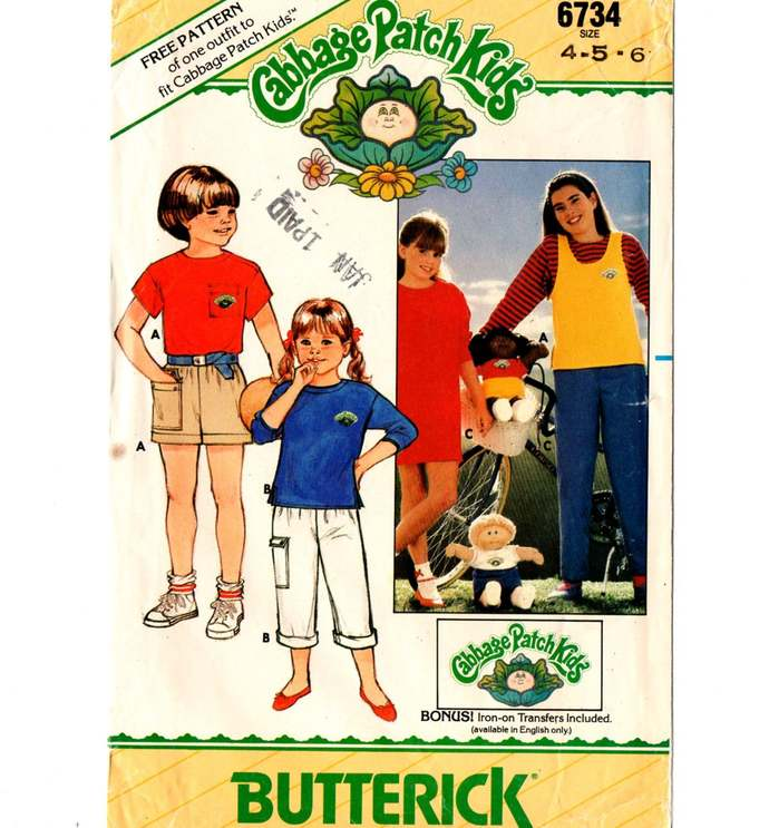 Butterick 6734 Boys/Girls Top, T-Shirt, Pants, Shorts 80s Vintage Sewing Pattern