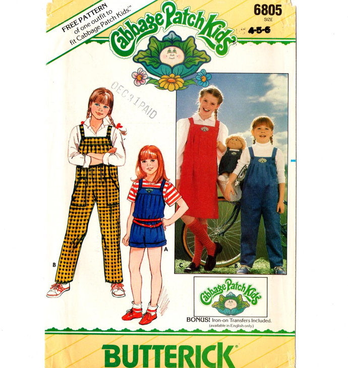 Butterick 6805 Girls Overalls, Jumper 80s Vintage Sewing Pattern Uncut Size 4,