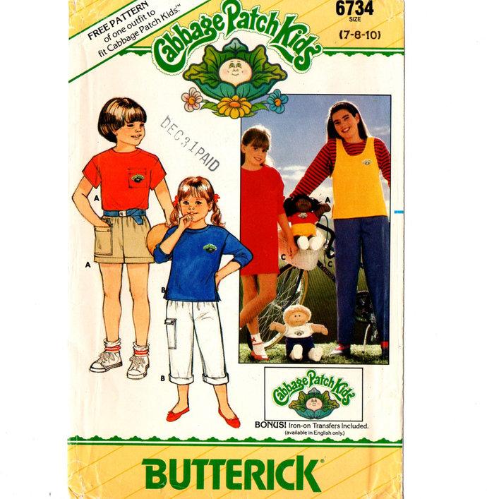 Butterick 6734 Boys/Girls Top, T-Shirt, Pants, Shorts 80s Vintage Sewing Pattern