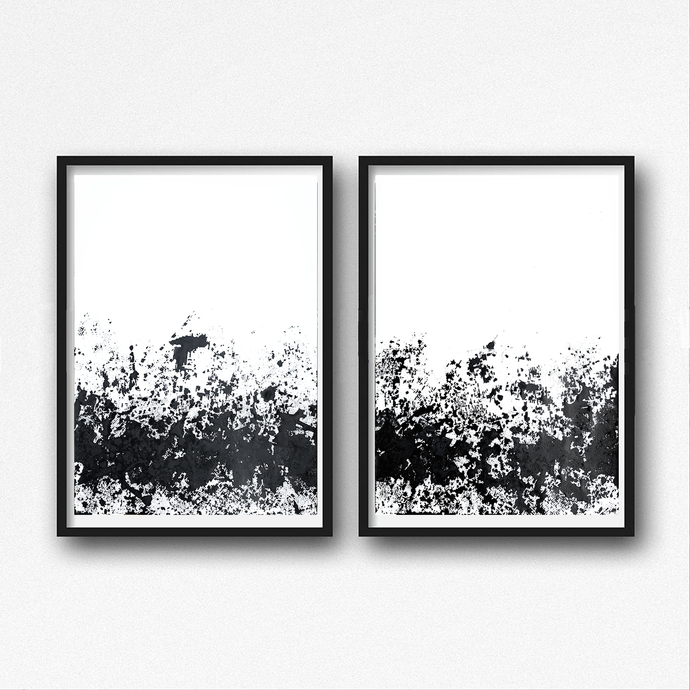 Set of 2 ink abstract, Original Fine Art Abstract, Black and white diptych ink,