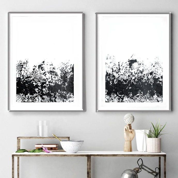 Set of 2 Print Black white, contemporary art, black white home decor, ink wall