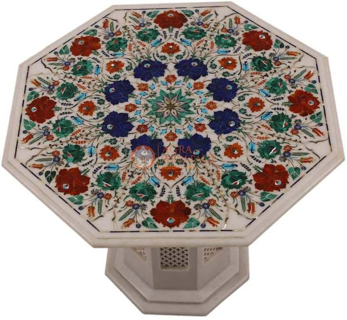 Marble Coffee Stand Table Top Multi Inlay Floral Eve Decorative Gifts