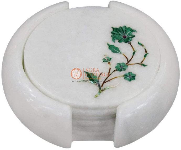 Marble Round Coffee Coaster Set Malachite Inlay Floral Arts Kitchen Gift Decor
