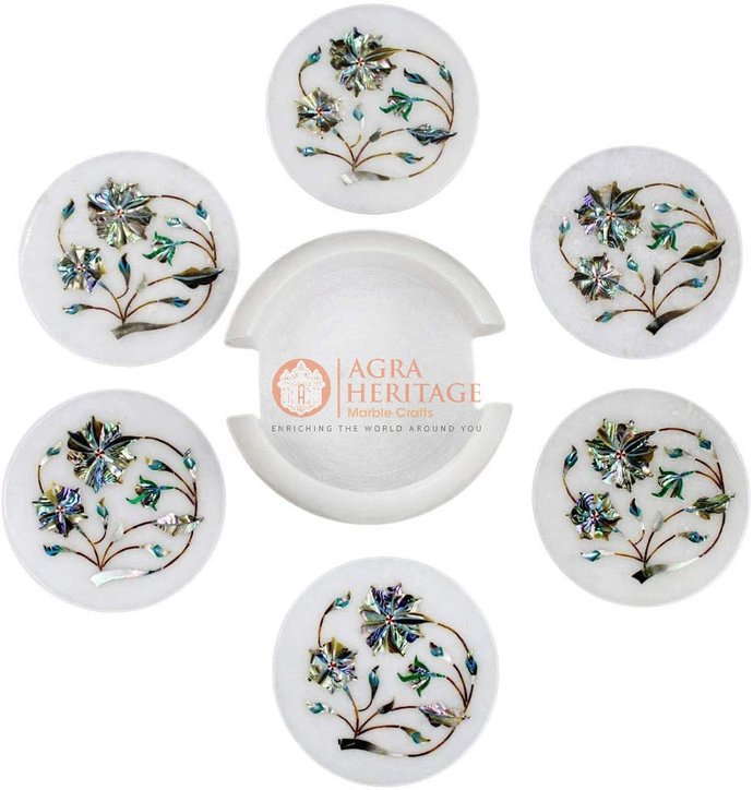 Marble Coaster Round Set Paua Shell Marquetry Inlay Drinkware Decor