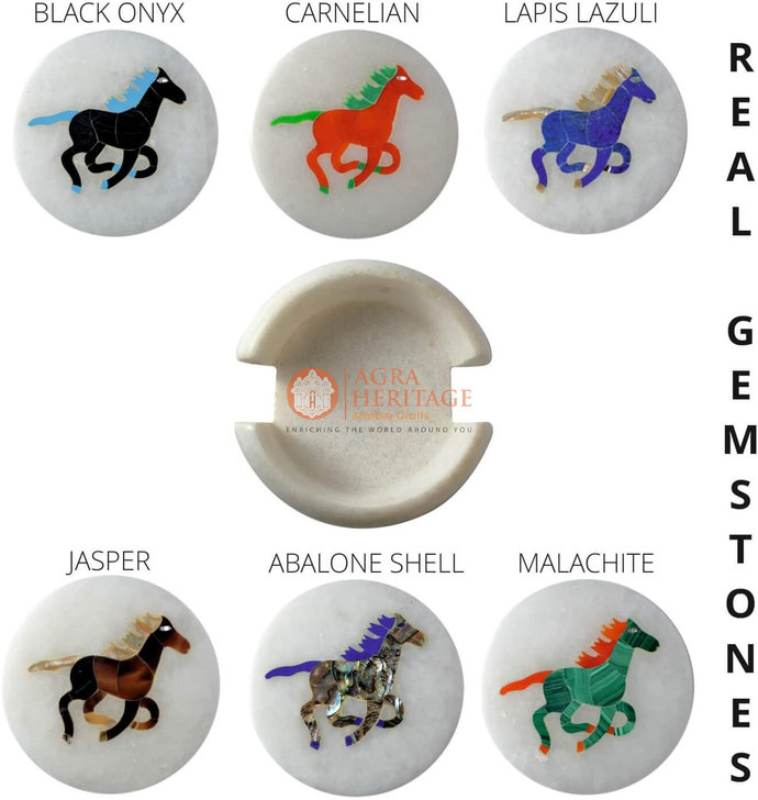 White Decor Round Marble Custom Coaster Set Horse Inlaid Floral Occasional