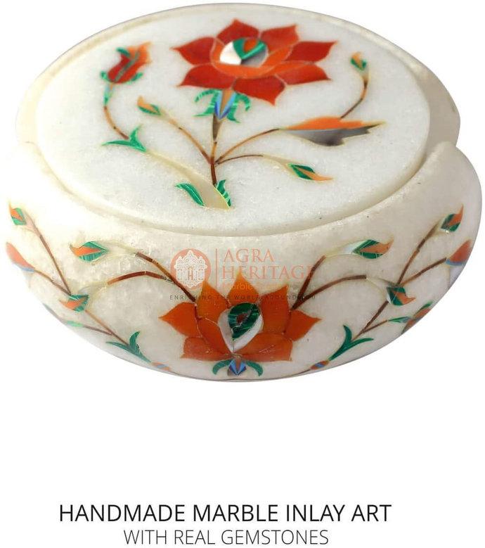White Decorative Round Marble Custom Coaster Set Carnelian Inlay Floral