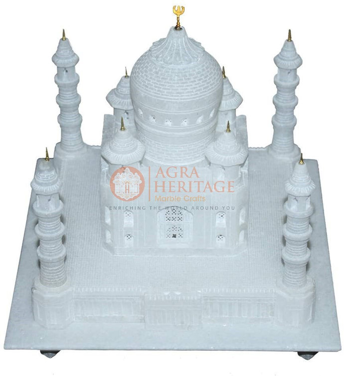 "14"" Replica Marvelous White Marble Agra Taj Mahal Historical Statue Handmade"