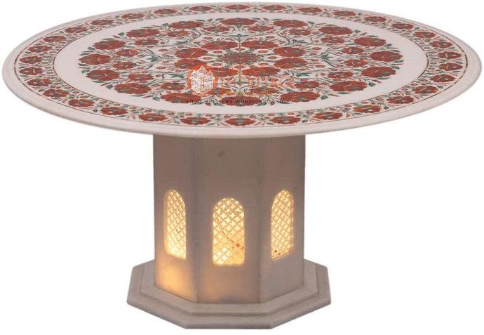 White Marble Dining Table Top Carnelian Inlay Set Pietra Dura Semi Precious Arts