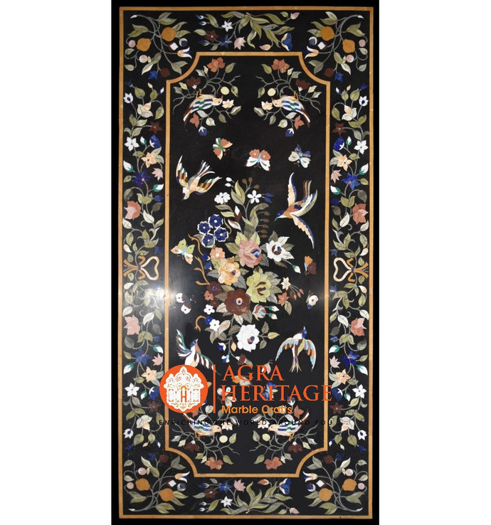 "85""x48"" Decorative Black Big Dining Marble Table Top Pietradura Inlay Birds"