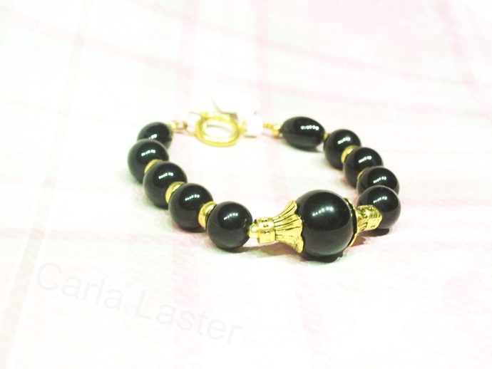Elegant ebony black and gold bracelet, special occasion jewelry, Handmade in