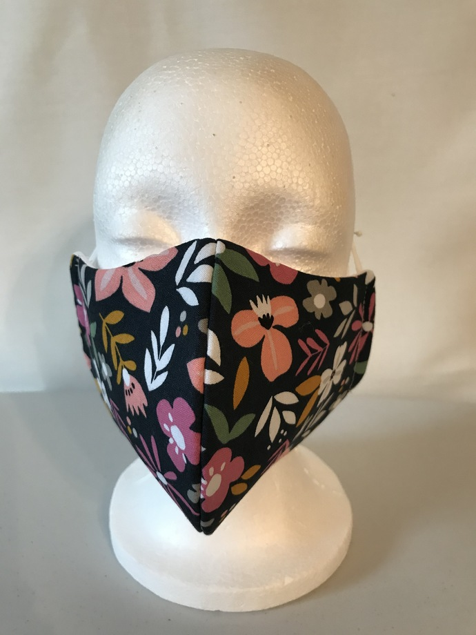 FACE MASK, 100% Cotton, 3-Layers, Handmade, Machine Washable/Dryable, Reusable