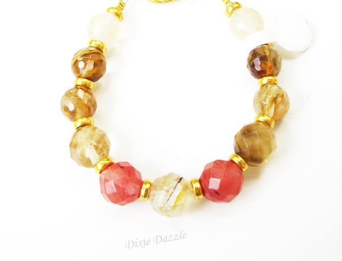 Cherry quartz bracelet, summer wedding jewelry, quartz healing stone, chakra,