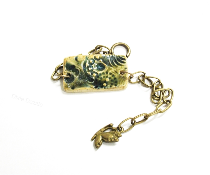One of a kind olive green bracelet, adjustable length, large easy open clasp,