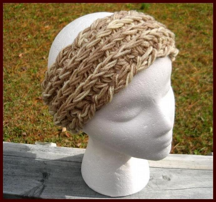 UBER Headband/Ear Warmer w/Detachable Flower- Caramel Vanilla Latte