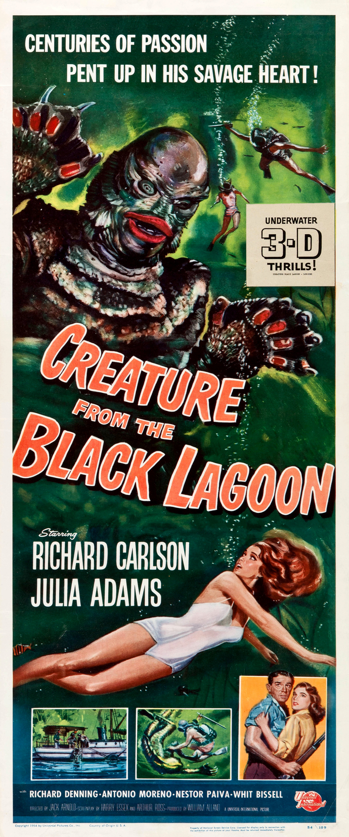 "Creature from the Black Lagoon - 10"" wide x 24"" tall Vintage Movie Poster Print"