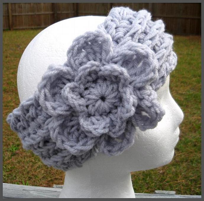 UBER Headband/Ear Warmer w/Detachable Flower- Light Grey