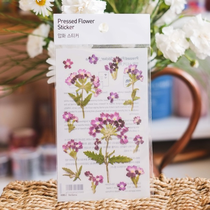 Appree Press Leaf Stickers - Verbena, see-through backing PET stickers