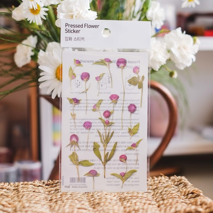 Appree Press Leaf Stickers - Globe Amaranth, see-through backing PET stickers