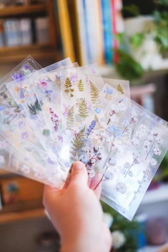 Pressed Flower Sticker bundle - 10 new sticker sheets with herbarium designs