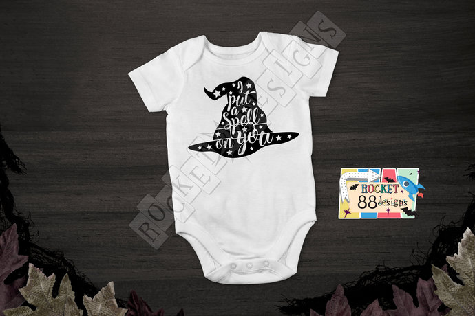 I Put A Spell On You Witch Hat One Piece Bodysuit romper Halloween Costume