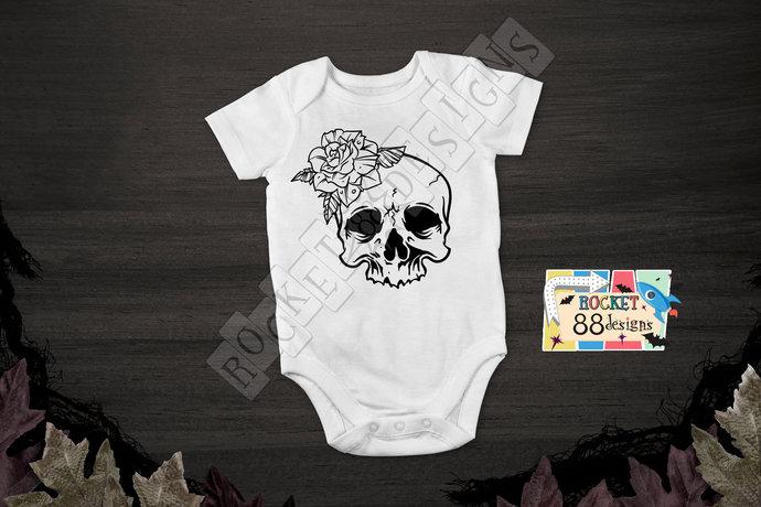 Skull and Rose One Piece Bodysuit romper Halloween Costume Skeleton Flower Girl