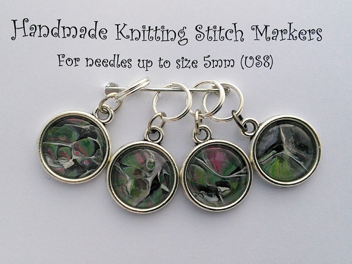 Knitting Stitch Markers - Green and Pink Abstract Art - Set of 4