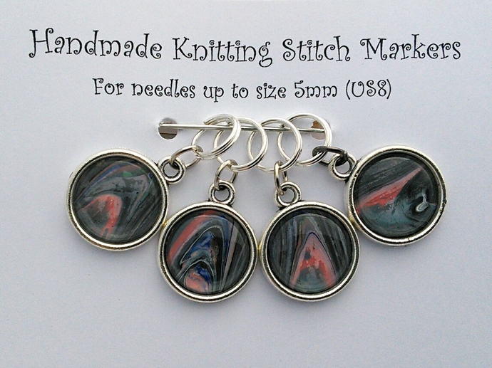 Knitting Stitch Markers - Grey and Pink Abstract Art - Set of 4