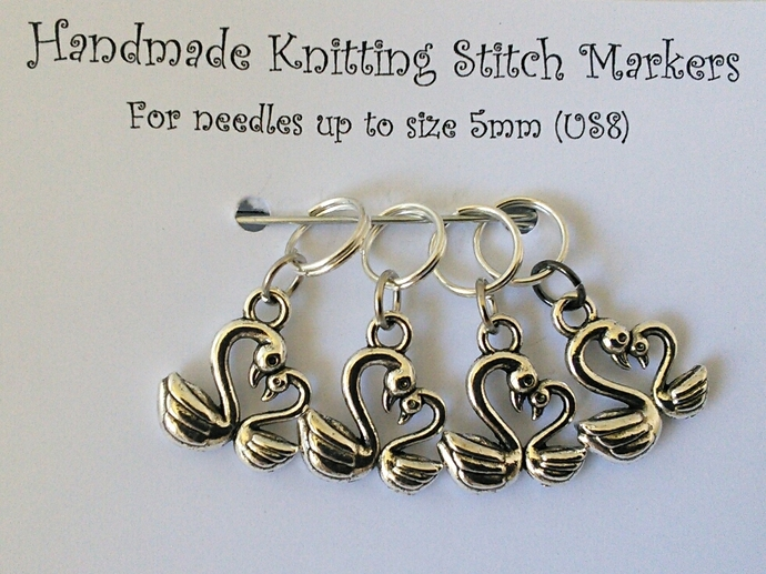 Knitting Stitch Markers - Swans - Set of 4