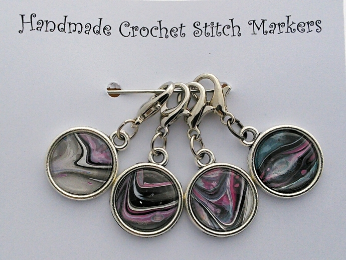 Crochet Stitch Markers - Pink and Grey Abstract Art - Set of 4