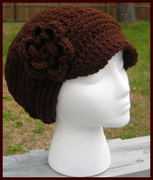 Handcrafted V-Stitch Newsboy Beanie/Hat w/Detachable Flower Chocolate with Other