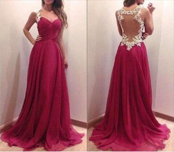 sleeveless cheap prom dresses 2020 a line chiffon burgundy Lace Applique elegant