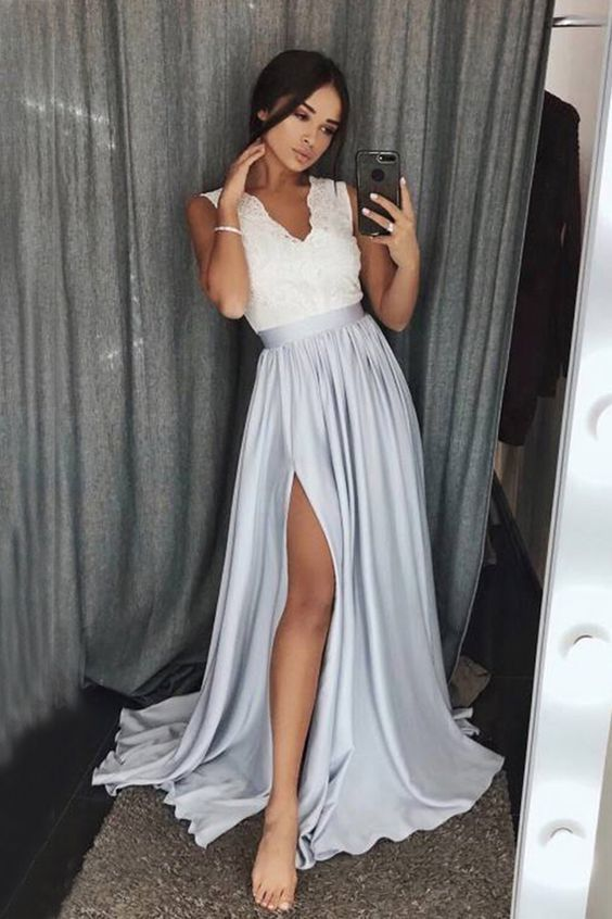 silver prom dresses 2020 v neck Lace Applique elegant sleeveless cheap satin a