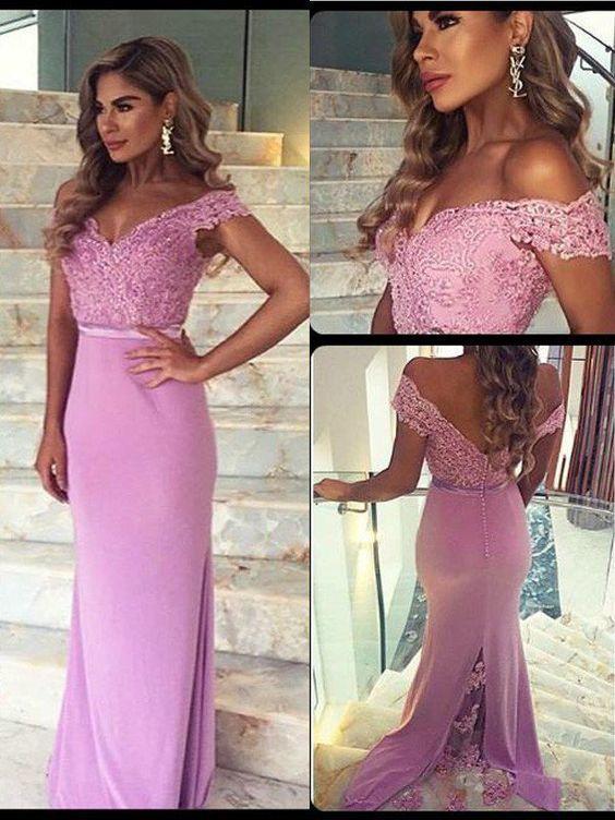 pink evening dresses 2020 off the shoulder lace applique beaded mermaid elegant