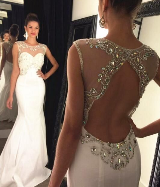 white beaded evening dresses long mermaid o neck elegant simple crystal cheap