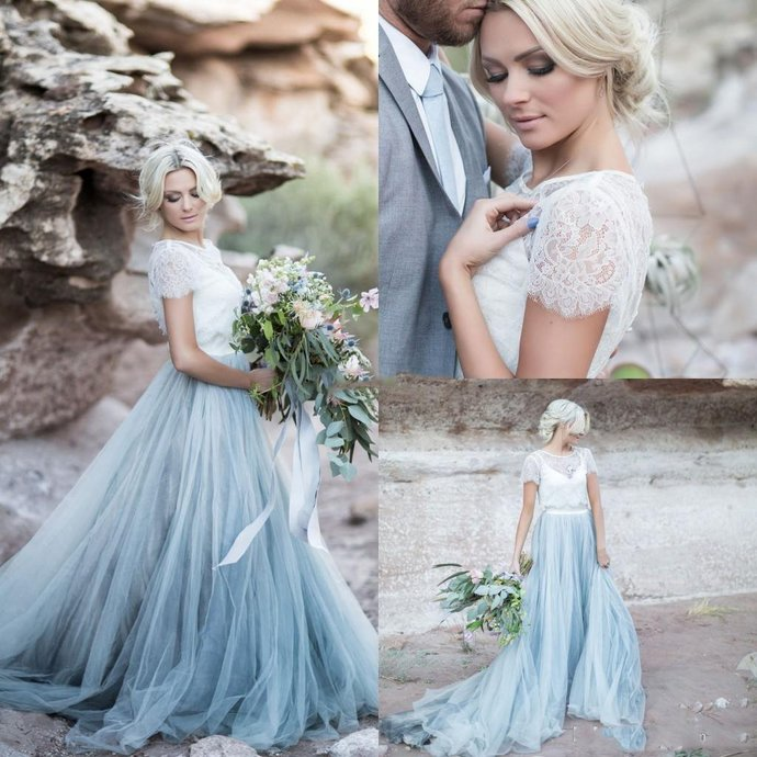 beach bridal dresses 2021 short sleeve lace applique tulle smokey blue cheap