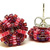 Beaded Circle Stud Earrings - Berry with silver posts